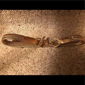 Lauren Ralph Lauren Gold Leather Stretch Belt